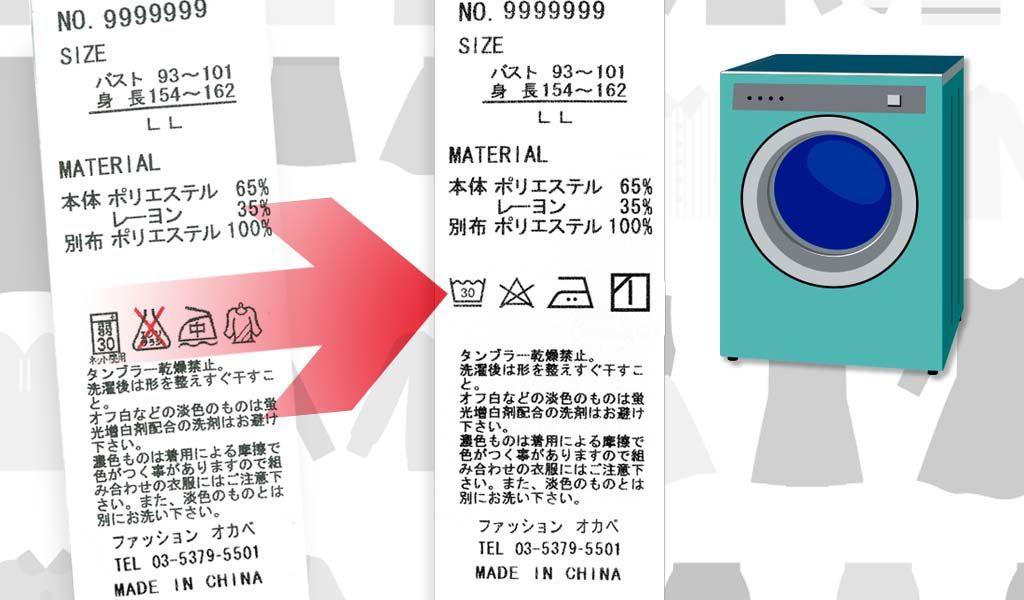 ケアラベル・洗濯ネーム・品質表示タグに使用される新JISの洗濯表示記号(洗濯マーク/洗濯記号/洗濯絵表示)