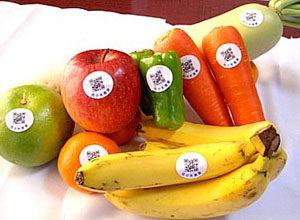 菜果ラベルを青果に直接貼るイメージ